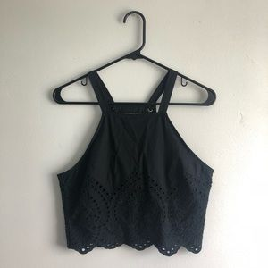 Abercrombie and Fitch Halter Crop Top Black